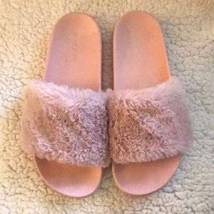 Furry pink slides